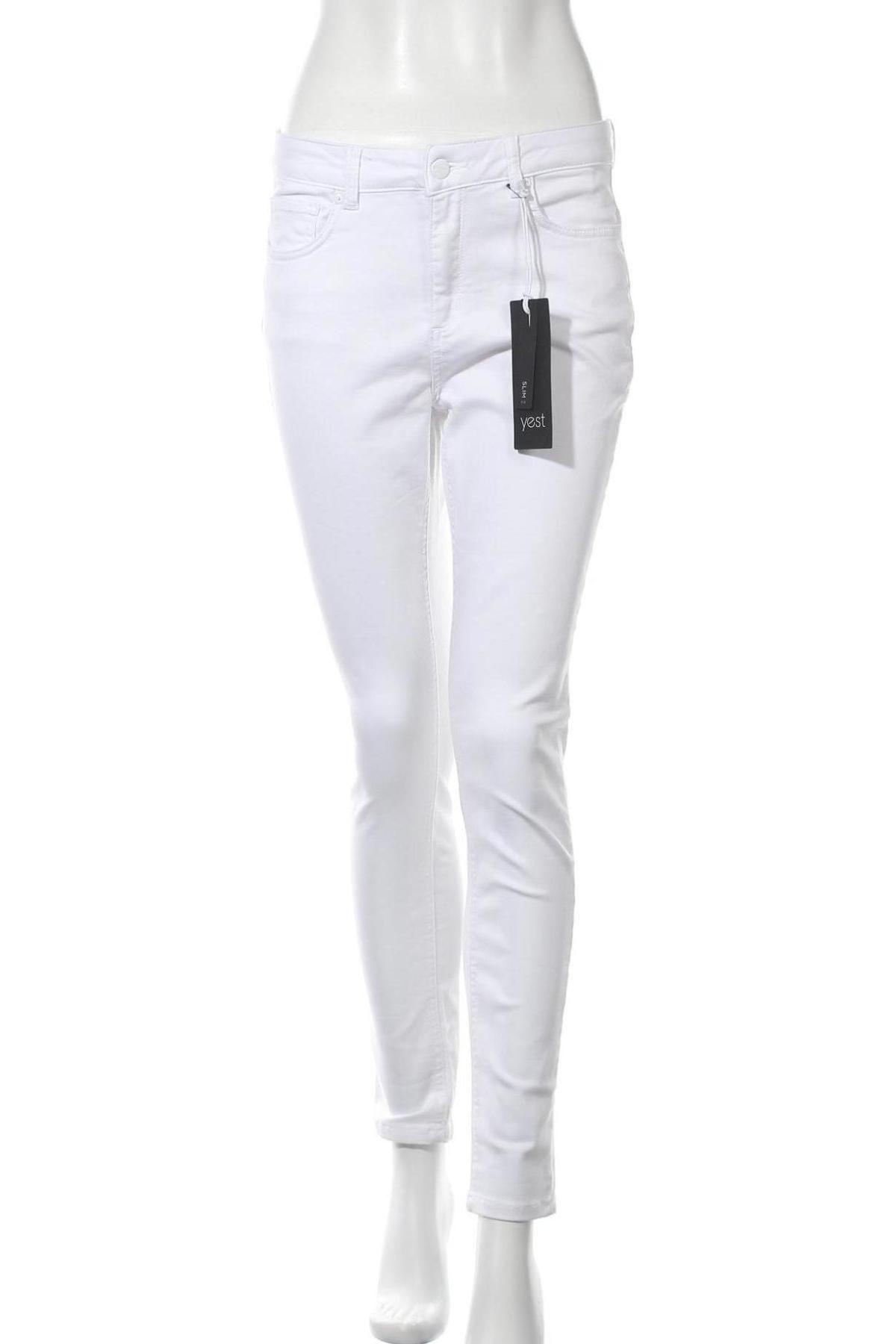 Дамски дънки Yest, Размер M, Цвят Бял, 62% памук, 35% полиестер, 3% еластан, Цена 24,72лв.