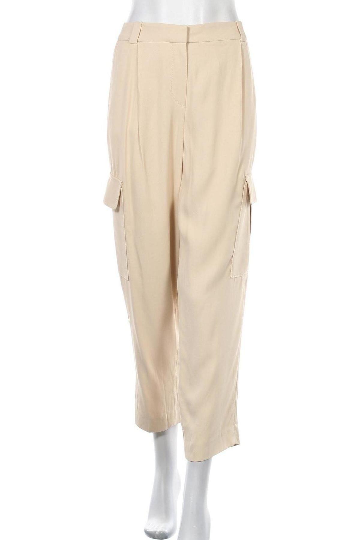 Дамски панталон Massimo Dutti, Размер M, Цвят Бежов, Вискоза, Цена 23,53лв.
