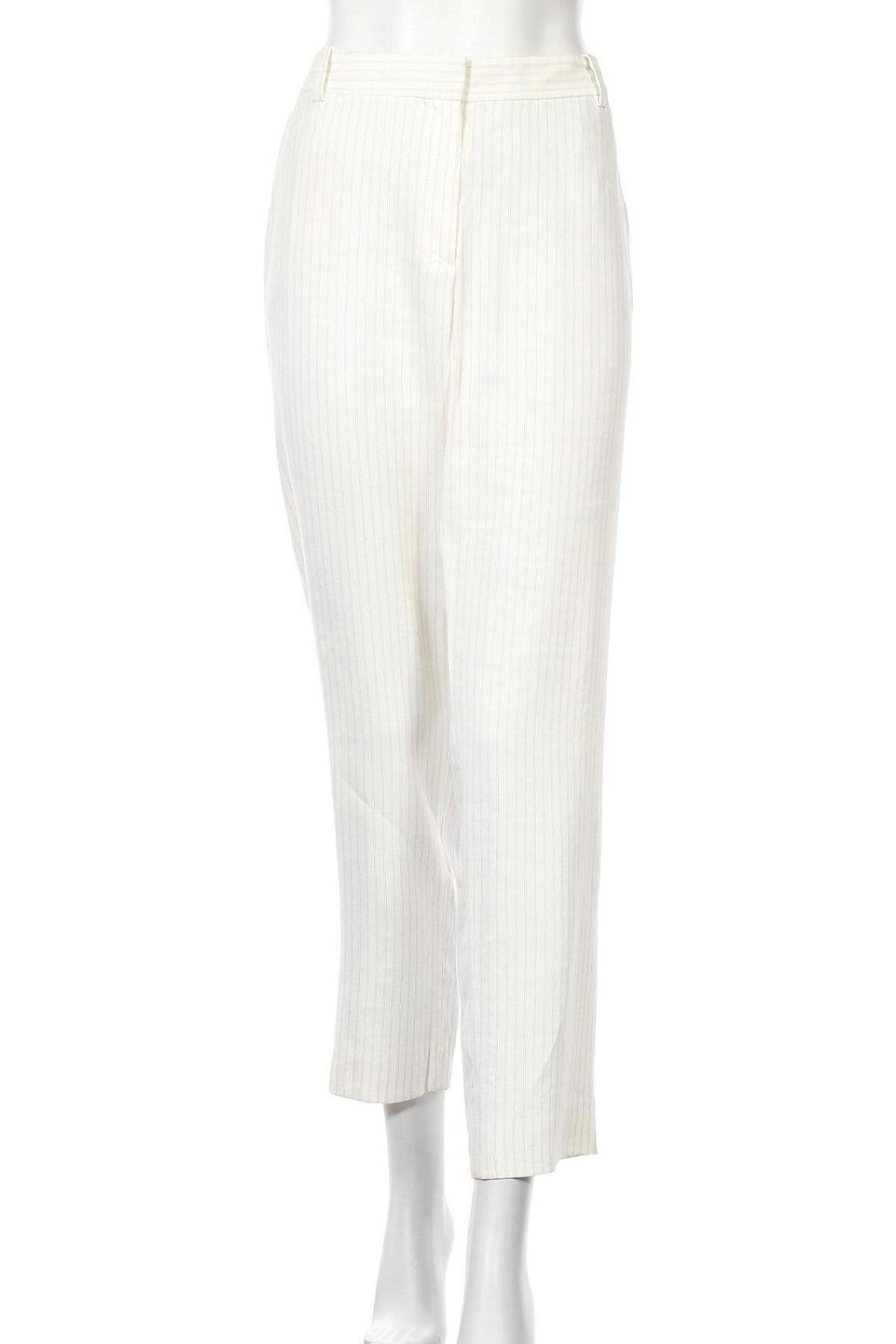 Dámské kalhoty  Massimo Dutti, Velikost L, Barva Bílá, 38% viskóza, 37% bavlna, 25% len, Cena  1185,00Kč