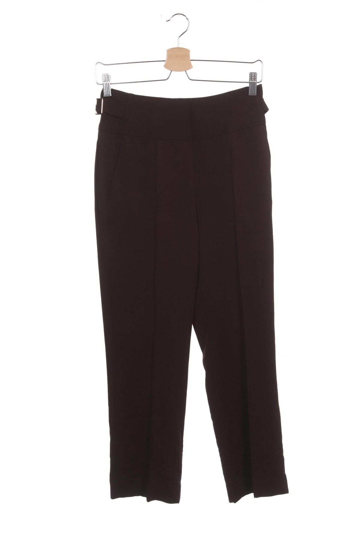 Дамски панталон Massimo Dutti, Размер XS, Цвят Кафяв, 96% вискоза, 4% еластан, Цена 74,25лв.