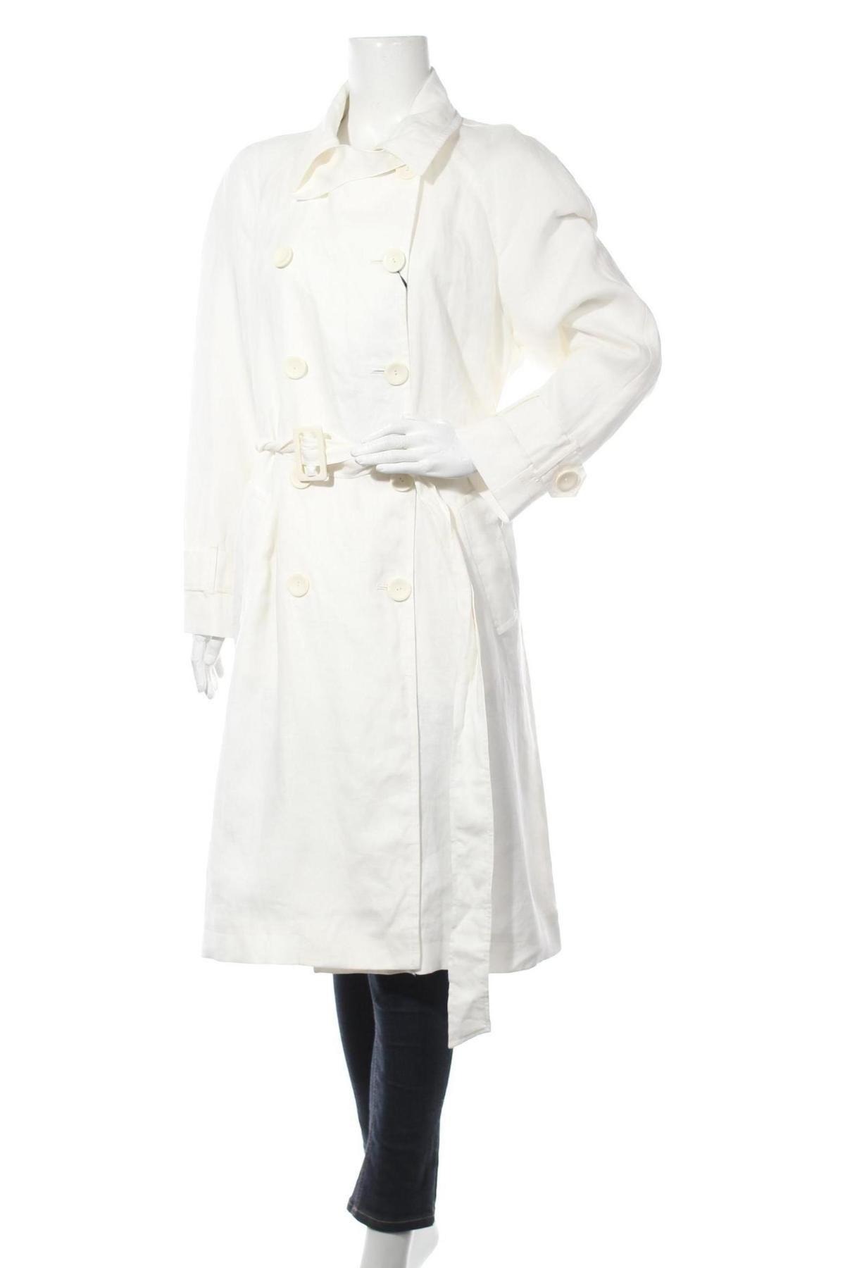 Дамски шлифер Massimo Dutti, Размер L, Цвят Бял, Лен, Цена 164,25лв.