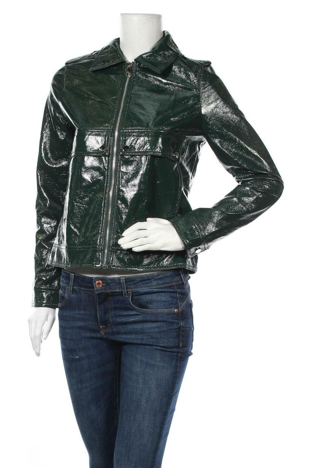 Дамско кожено яке La Morena, Размер S, Цвят Зелен, Еко кожа, Цена 66,75лв.