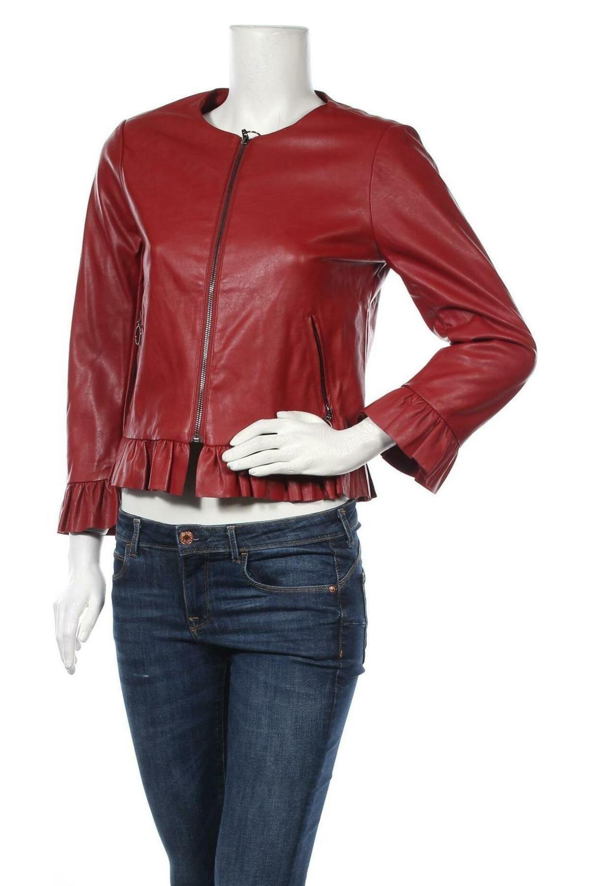 Дамско кожено яке La Morena, Размер S, Цвят Червен, Еко кожа, Цена 66,75лв.