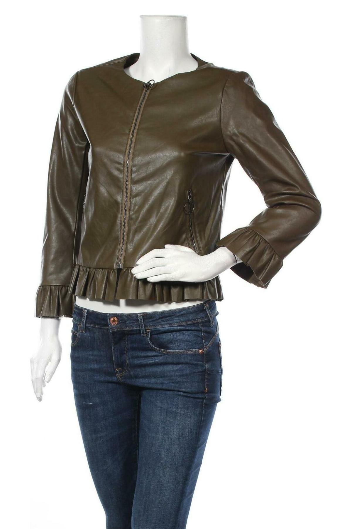 Дамско кожено яке La Morena, Размер S, Цвят Зелен, Еко кожа, Цена 37,77лв.