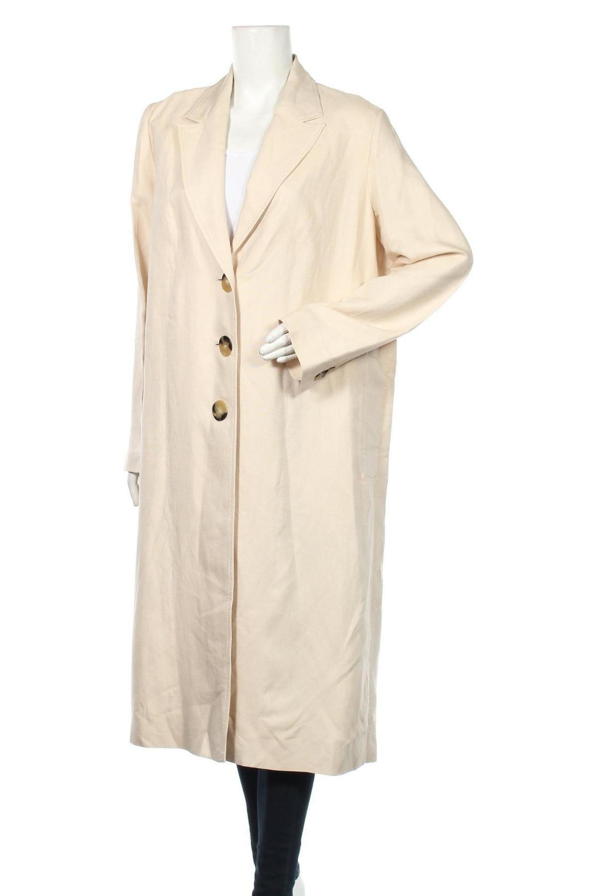 Дамско палто Massimo Dutti, Размер XL, Цвят Бежов, 70% вискоза, 30% лен, Цена 52,58лв.