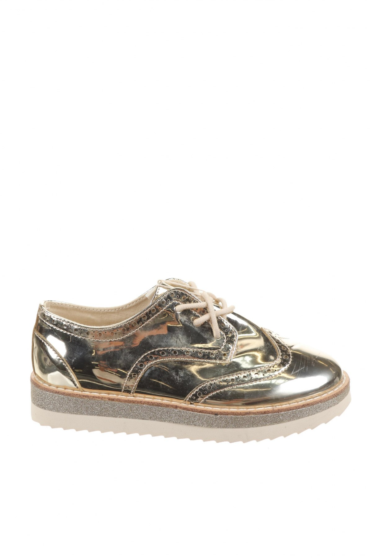 Детски обувки Zara, Размер 32, Цвят Златист, Еко кожа, Цена 27,00лв.