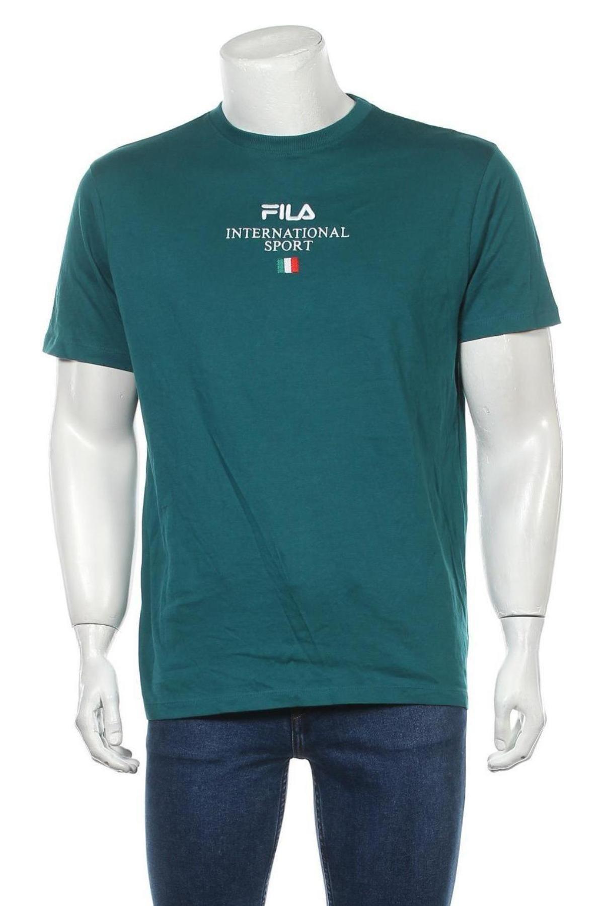 Мъжка тениска Fila, Размер M, Цвят Зелен, Памук, Цена 36,75лв.
