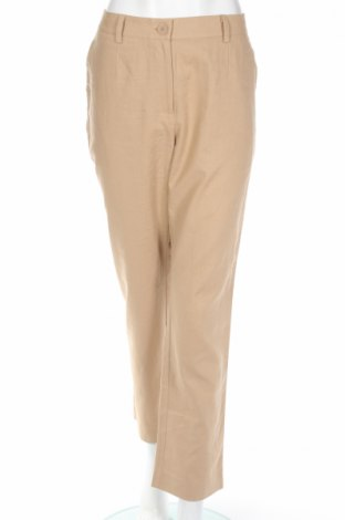 Дамски панталон Patrizia Dini, Размер L, Цвят Бежов, 55% лен, 45% памук, Цена 71,62лв.