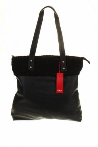Γυναικεία τσάντα S.Oliver, Χρώμα Μαύρο, Δερματίνη, κλωστοϋφαντουργικά προϊόντα, Τιμή 24,19€