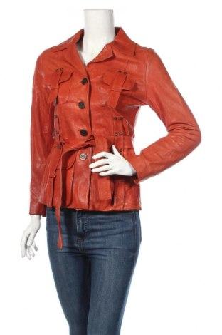 Γυναικείο δερμάτινο μπουφάν, Μέγεθος M, Χρώμα Πορτοκαλί, Γνήσιο δέρμα, Τιμή 50,66€