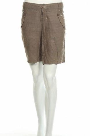Дамски къс панталон Kenvelo, Размер S, Цвят Сив, 60% лен, 40% памук, Цена 27,17лв.