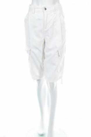 Pantaloni scurți de femei Pull&Bear, Mărime M, Culoare Alb, 55% in, 45% bumbac, Preț 15,56 Lei