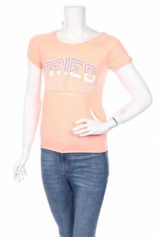 Дамска тениска Cropp, Размер XS, Цвят Оранжев, 65% полиестер, 35% памук, Цена 16,82лв.