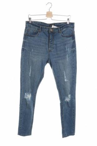 Męskie jeansy Boohoo, Rozmiar L, Kolor Niebieski, 98% bawełna, 2% elastyna, Cena 82,80zł
