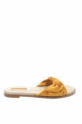 Γυναικείες παντόφλες Bershka, Μέγεθος 38, Χρώμα Κίτρινο, Κλωστοϋφαντουργικά προϊόντα, Τιμή 12,12€