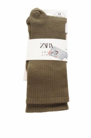 Чорапи Zara, Размер M, Цвят Зелен, 65% памук, 35% полиамид, Цена 7,05лв.