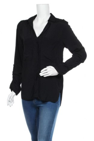 Дамска риза Zara, Размер M, Цвят Черен, Вискоза, Цена 18,62лв.