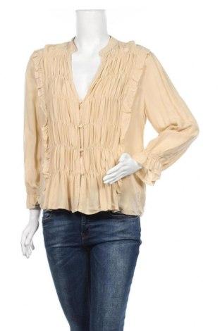 Дамска риза Zara, Размер L, Цвят Бежов, Вискоза, Цена 14,75лв.