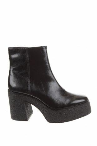Γυναικεία μποτάκια Bershka, Μέγεθος 39, Χρώμα Μαύρο, Δερματίνη, Τιμή 18,19€