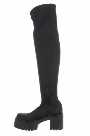 Cizme de damă Bershka, Mărime 36, Culoare Negru, Textil, Preț 202,31 Lei