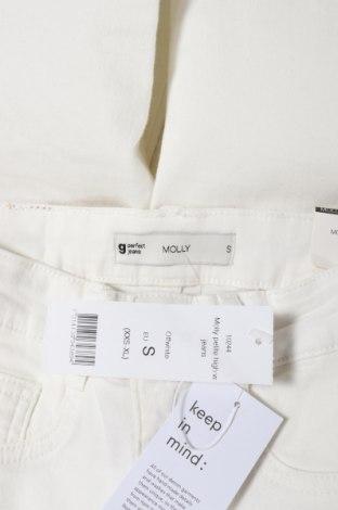 Дамски дънки Gina Tricot, Размер XS, Цвят Бял, 98% памук, 2% еластан, Цена 51,75лв.