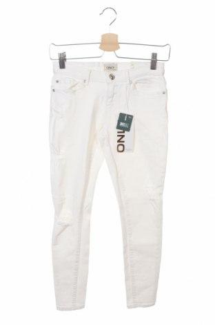 Дамски дънки ONLY, Размер M, Цвят Бял, 98% памук, 2% еластан, Цена 18,83лв.