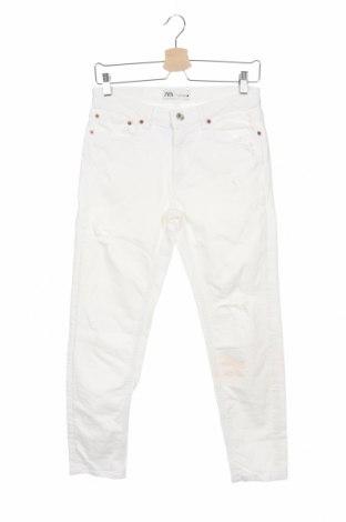 Дамски дънки Zara, Размер XS, Цвят Бял, Цена 14,95лв.