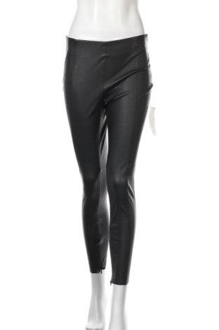 Дамски кожен панталон Zara, Размер S, Цвят Черен, Еко кожа, Цена 14,16лв.