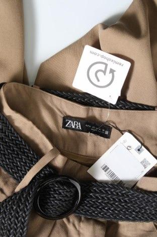 Дамски панталон Zara, Размер XS, Цвят Бежов, 57% лиосел, 43% вискоза, Цена 13,47лв.