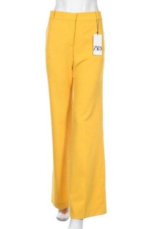Дамски панталон Zara, Размер M, Цвят Жълт, 68% полиестер, 29% вискоза, 3% еластан, Цена 16,24лв.