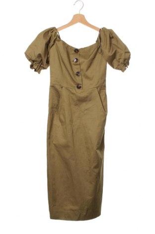 Рокля Zara, Размер XS, Цвят Зелен, 78% памук, 22% лен, Цена 15,87лв.