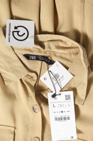 Рокля Zara, Размер L, Цвят Бежов, Лиосел, Цена 51,75лв.