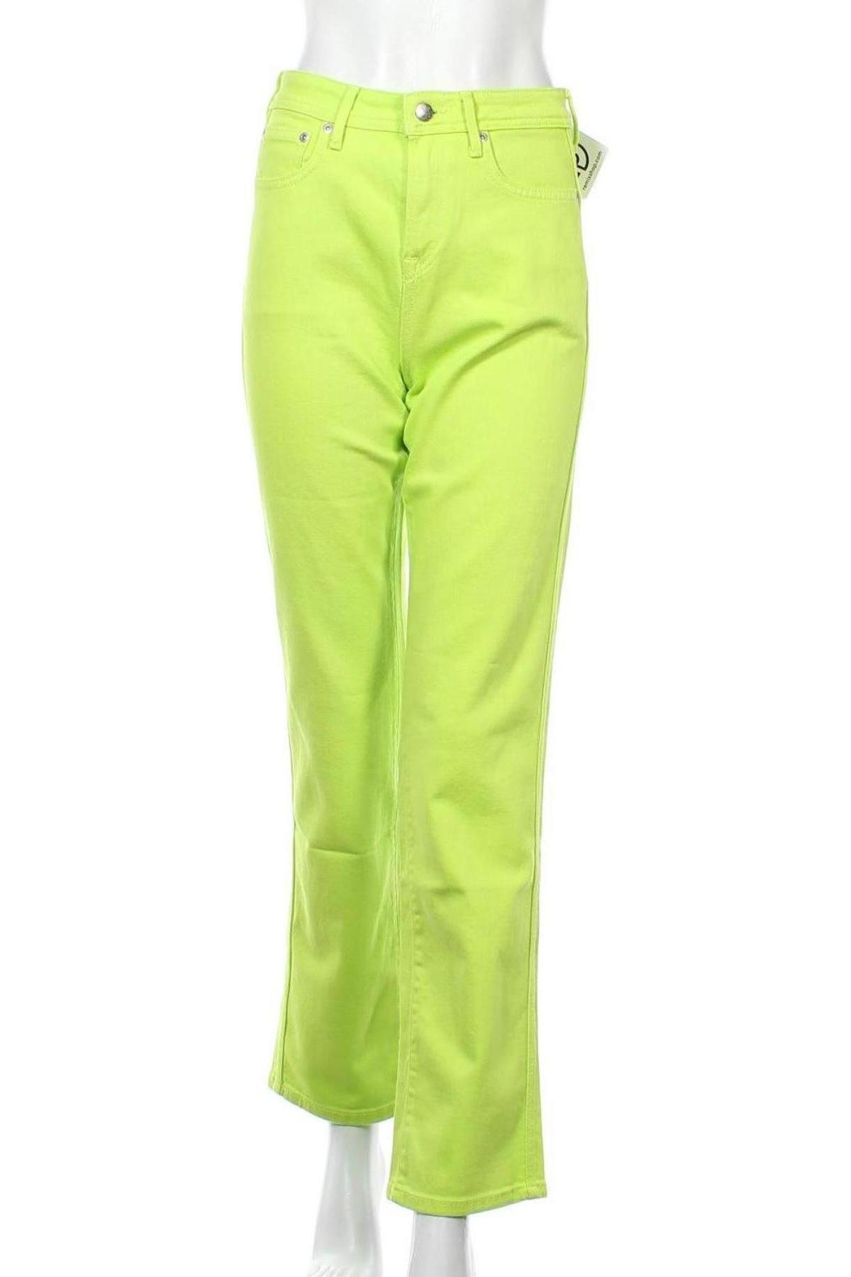 Дамски дънки Dua Lipa x Pepe Jeans, Размер S, Цвят Зелен, 99% памук, 1% еластан, Цена 24,37лв.