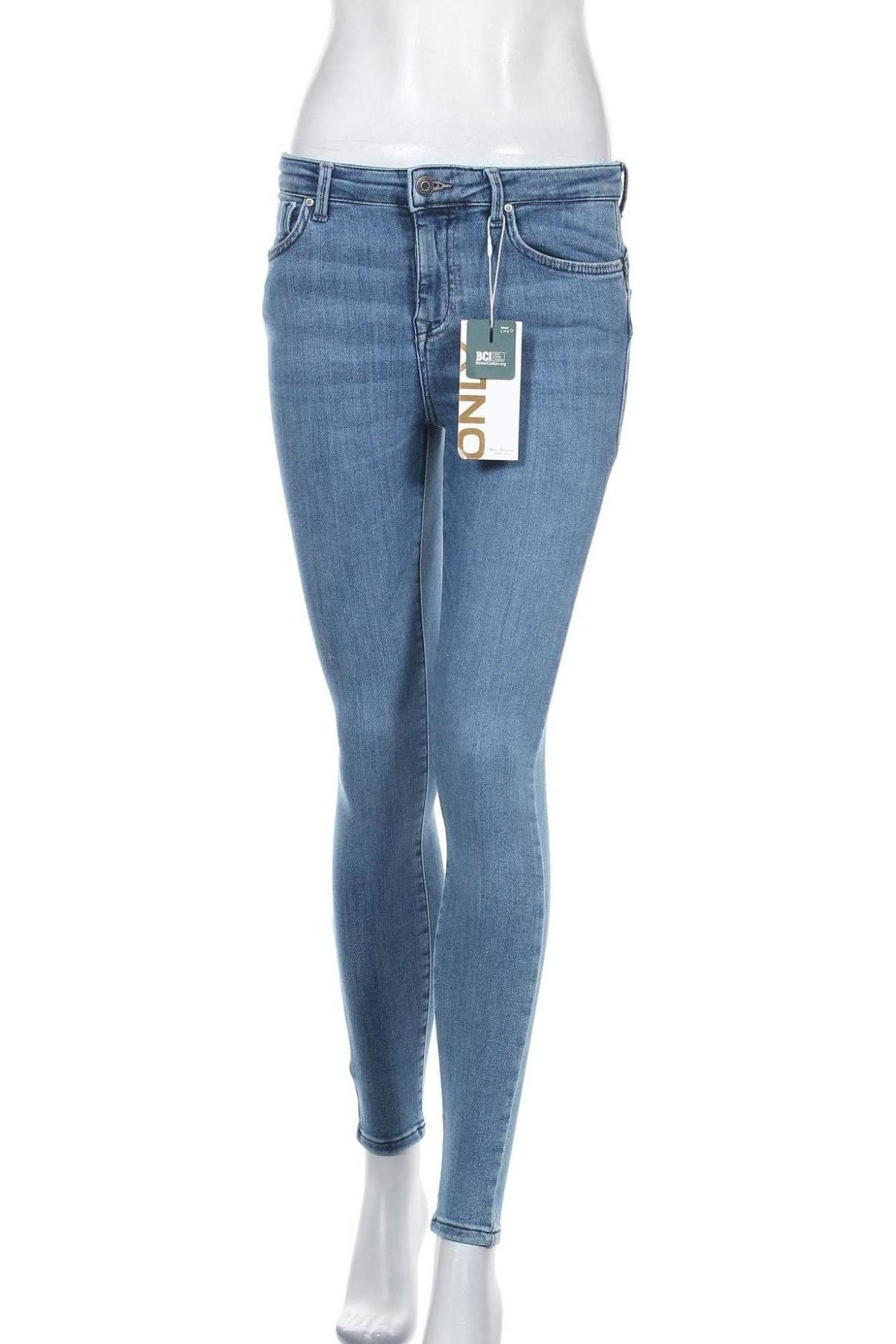 Дамски дънки ONLY, Размер M, Цвят Син, 92% памук, 6% полиестер, 2% еластан, Цена 51,75лв.