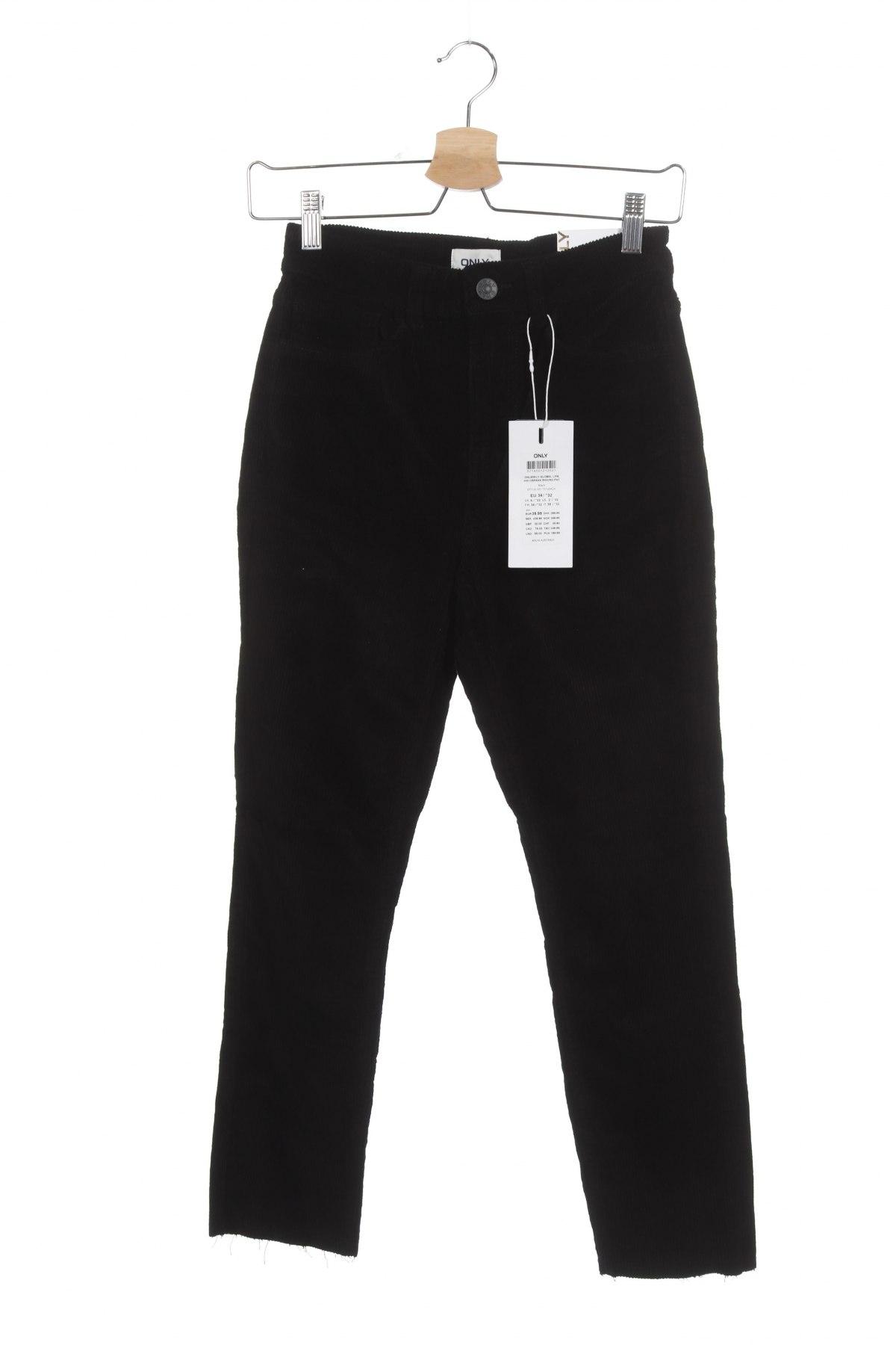 Дамски дънки ONLY, Размер XS, Цвят Черен, 98% памук, 2% еластан, Цена 12,94лв.