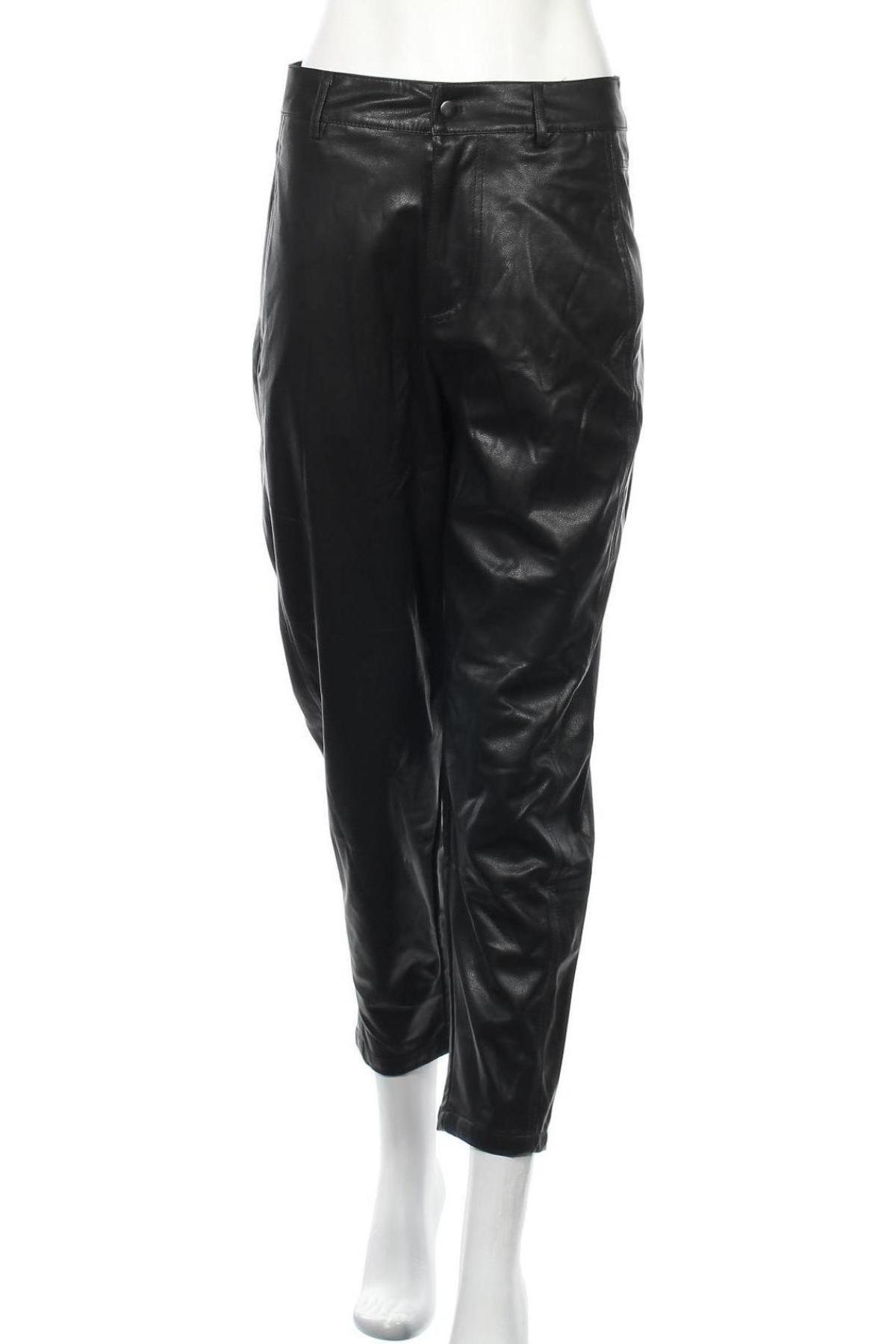 Дамски кожен панталон Zara, Размер S, Цвят Черен, Еко кожа, Цена 51,75лв.