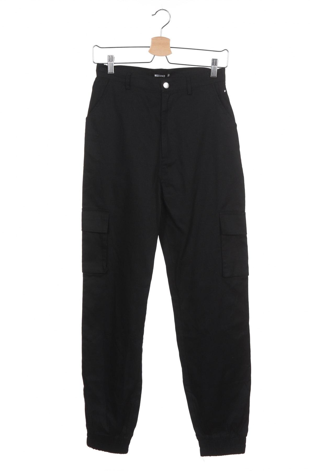 Дамски панталон Missguided, Размер XS, Цвят Черен, Памук, Цена 44,25лв.