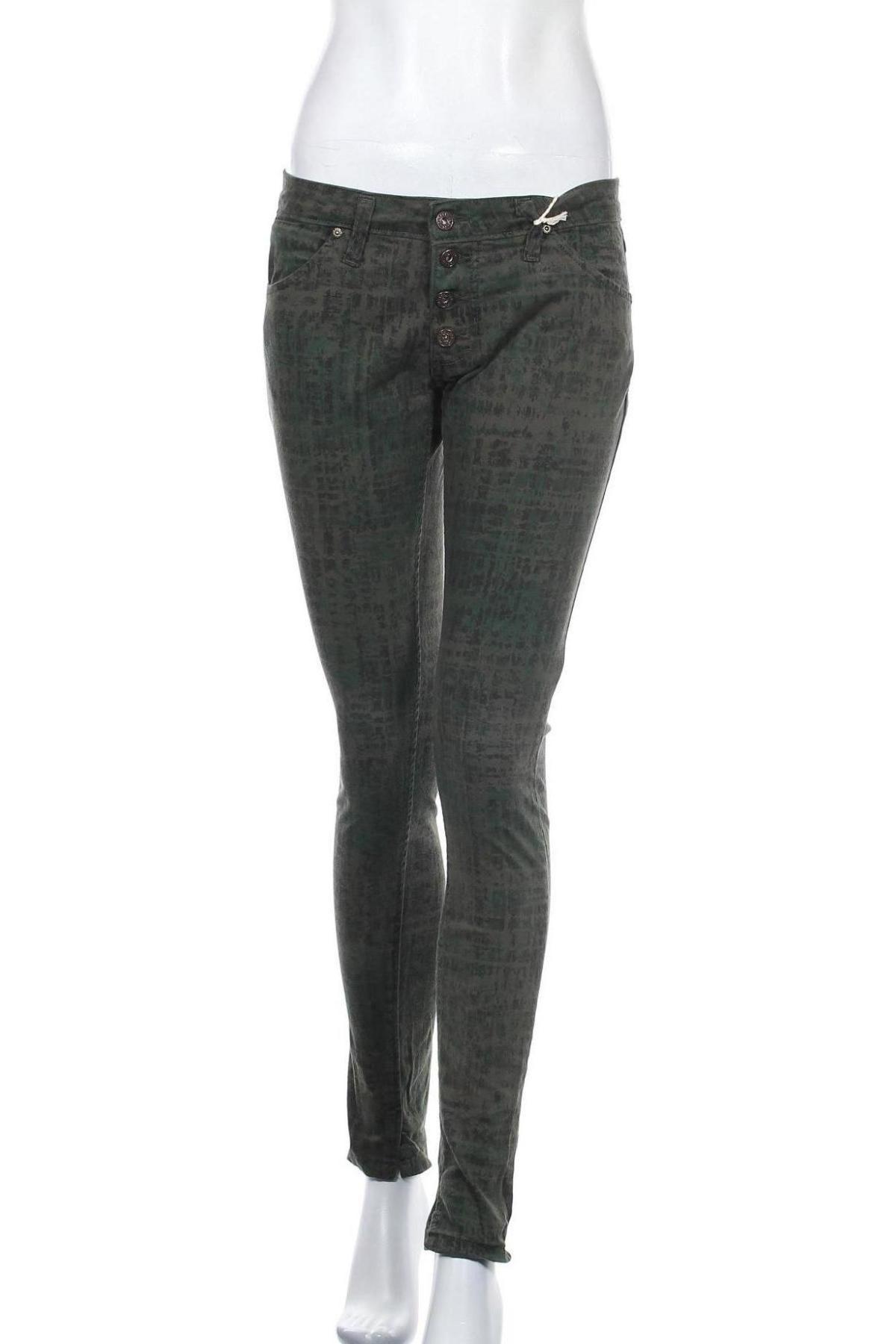 Дамски панталон Please, Размер S, Цвят Зелен, 97% памук, 3% еластан, Цена 23,22лв.