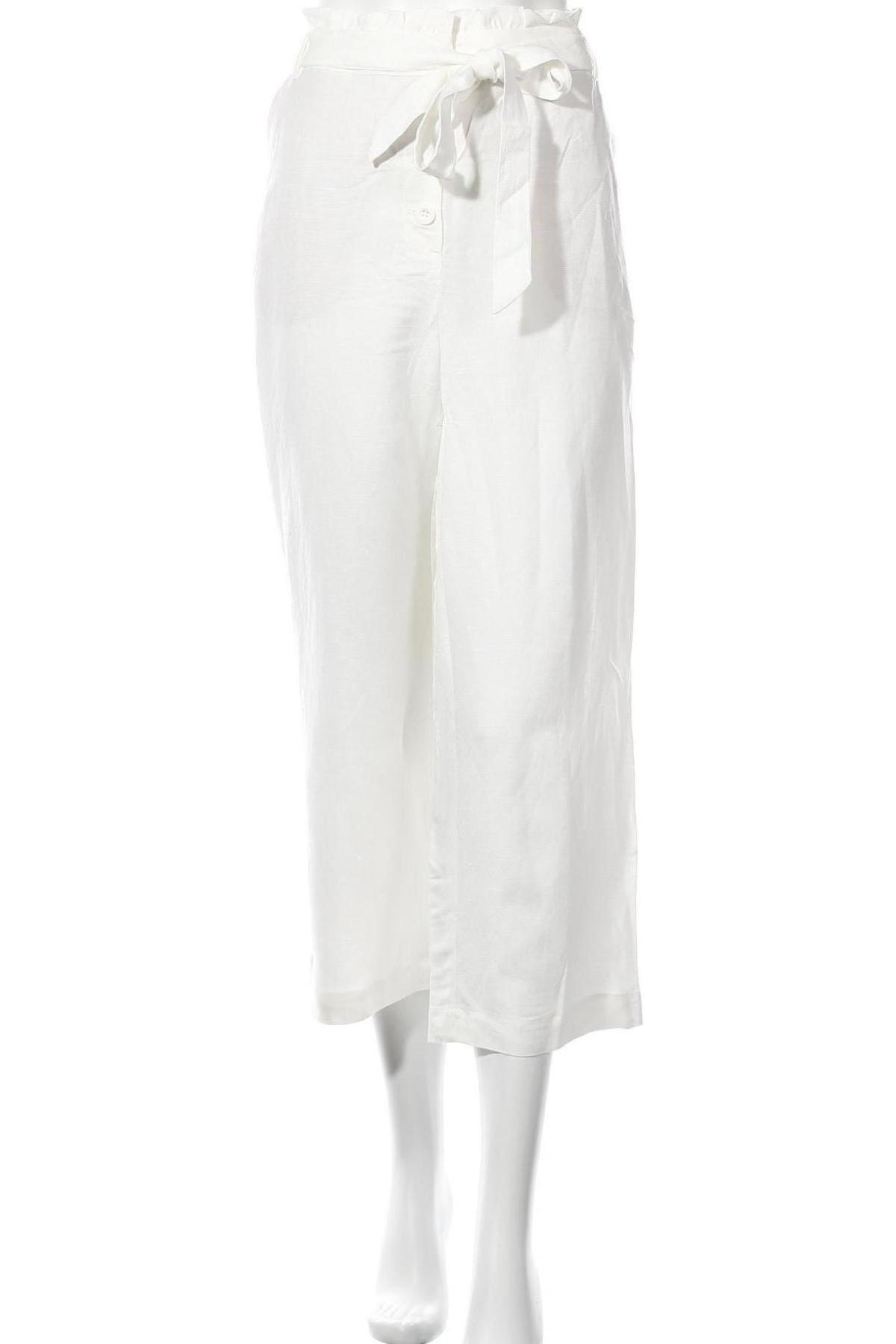 Дамски панталон Superdry, Размер L, Цвят Бял, 52% лен, 48% вискоза, Цена 12,92лв.