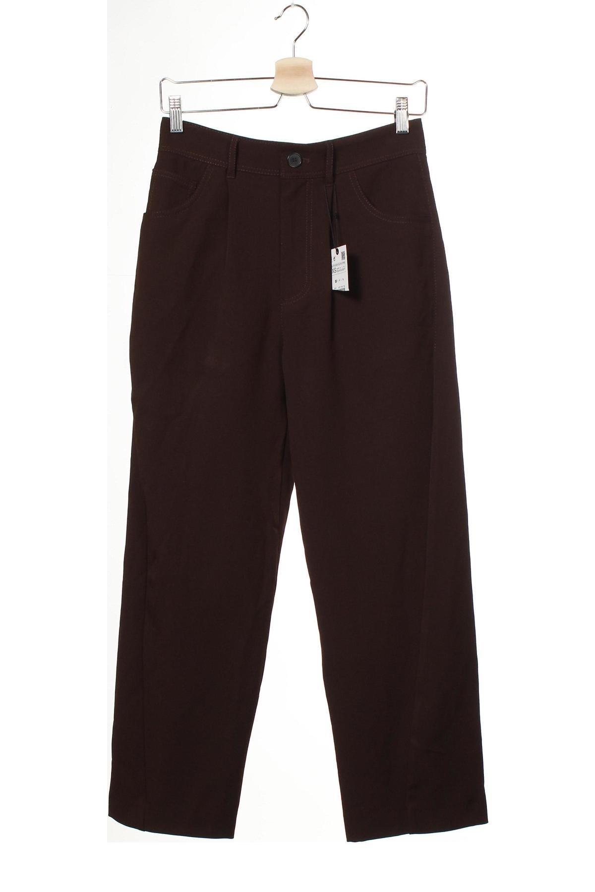 Дамски панталон Zara, Размер XS, Цвят Кафяв, 68% полиестер, 29% вискоза, 3% еластан, Цена 51,75лв.