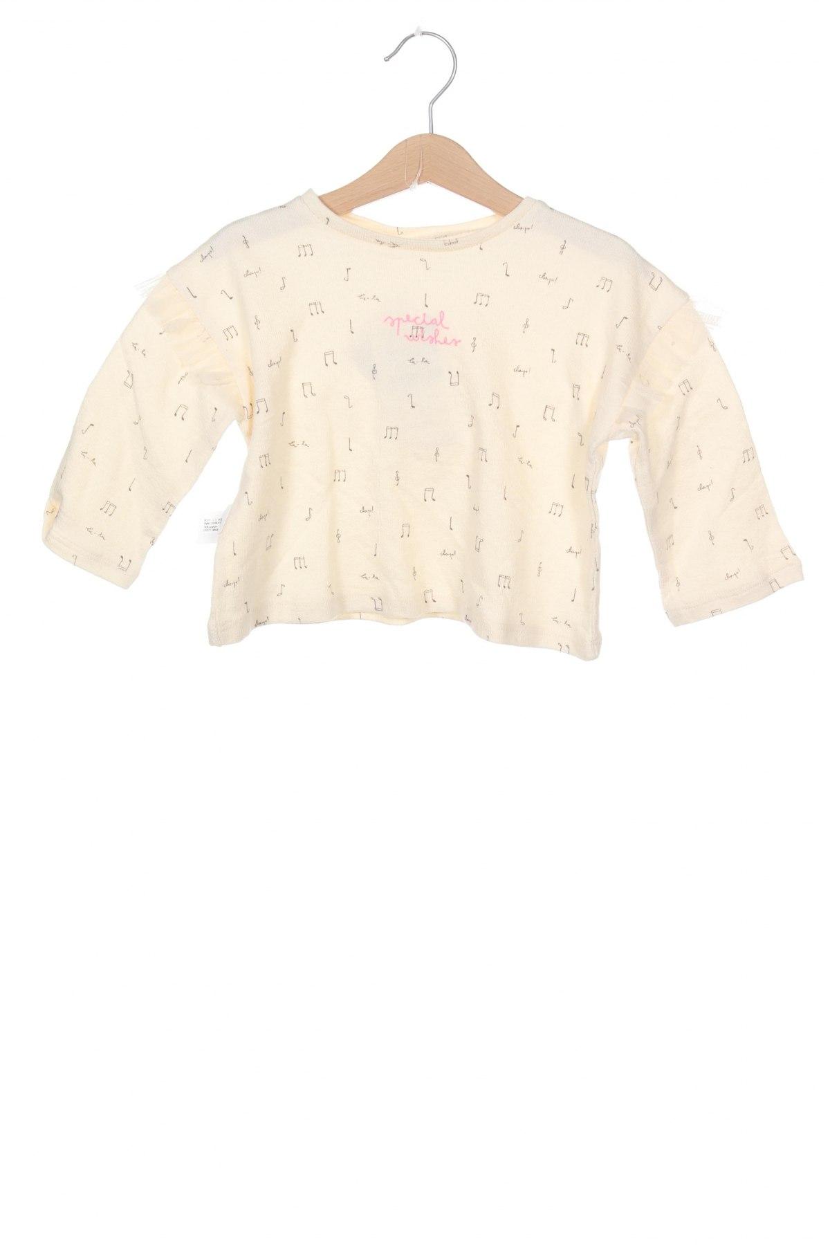 Детска блуза Zara, Размер 12-18m/ 80-86 см, Цвят Бежов, Памук, Цена 26,25лв.