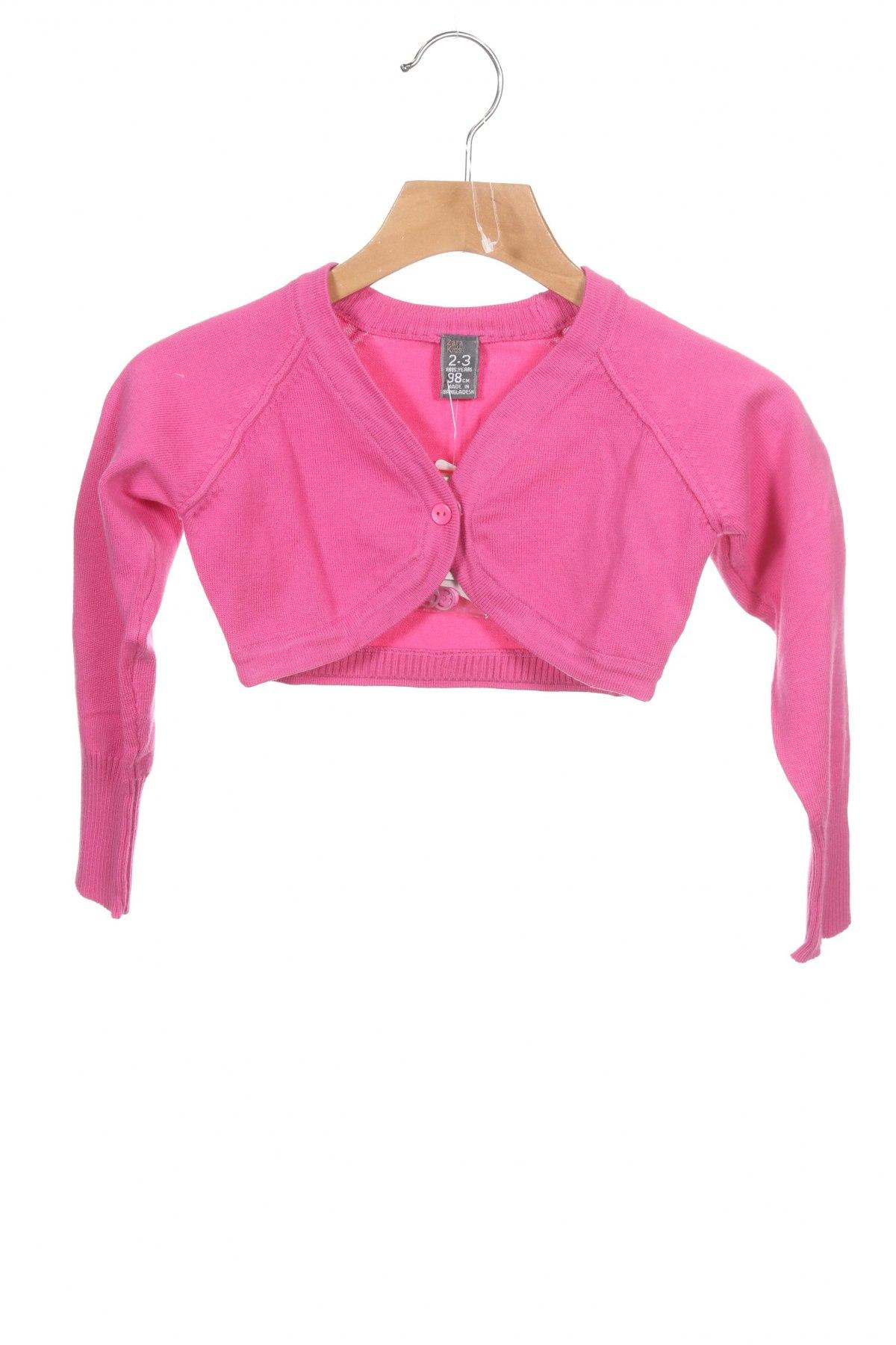 Pulover cu nasturi pentru copii Zara, Mărime 18-24m/ 86-98 cm, Culoare Roz, 70% bumbac, 30% poliamidă, Preț 19,34 Lei