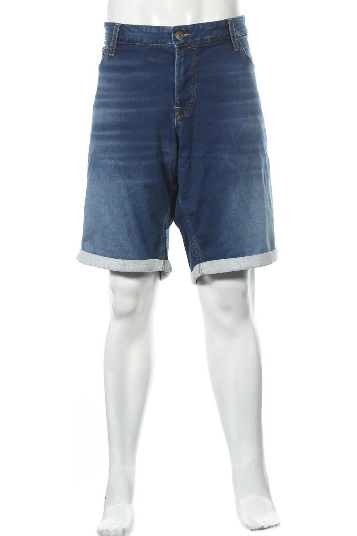 Мъжки къс панталон Jack & Jones, Размер 3XL, Цвят Син, 77% памук, 22% полиестер, 1% еластан, Цена 30,36лв.