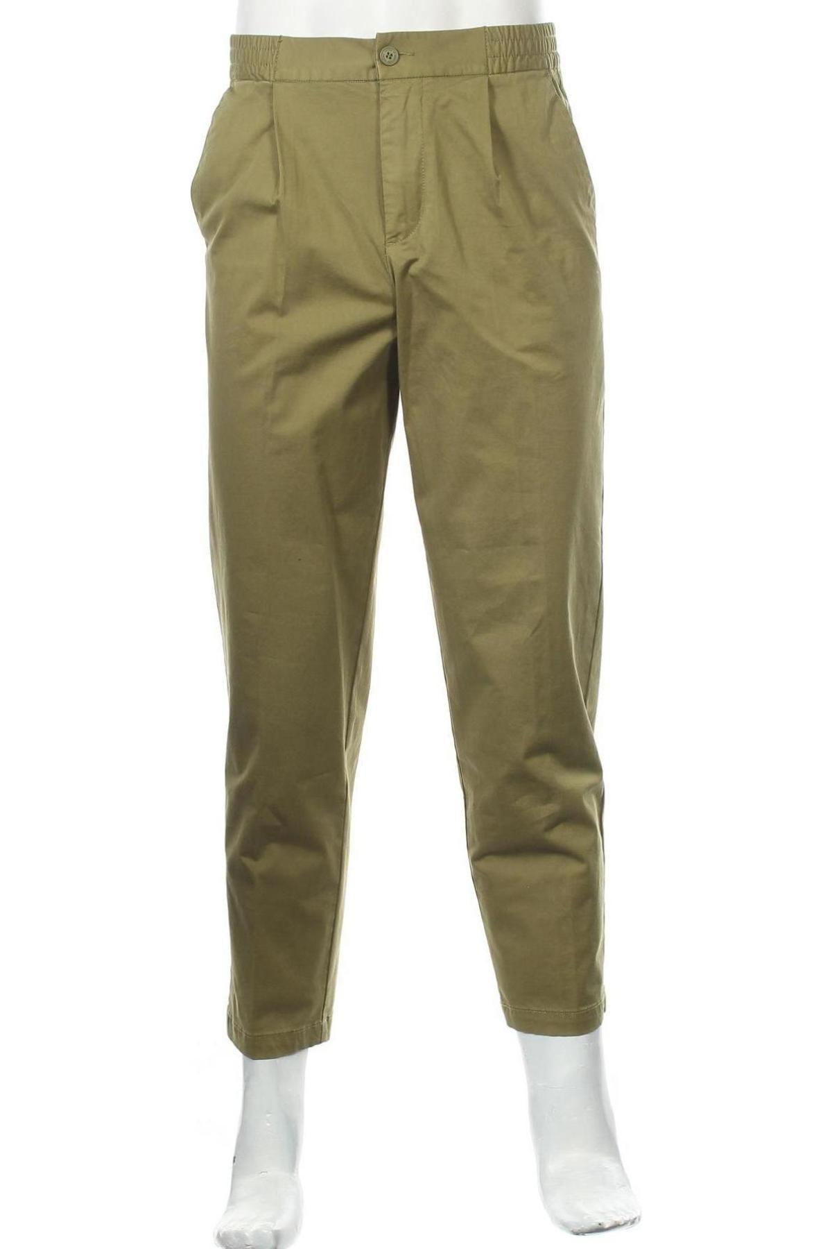 Мъжки панталон United Colors Of Benetton, Размер M, Цвят Зелен, 98% памук, 2% еластан, Цена 22,77лв.