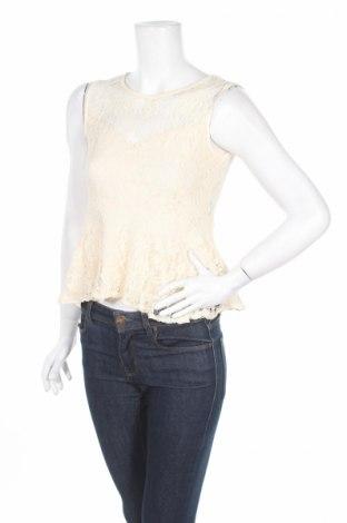 Γυναικείο αμάνικο μπλουζάκι Poof, Μέγεθος L, Χρώμα  Μπέζ, 60% βαμβάκι, 35% πολυεστέρας, 5% ελαστάνη, Τιμή 2,98€