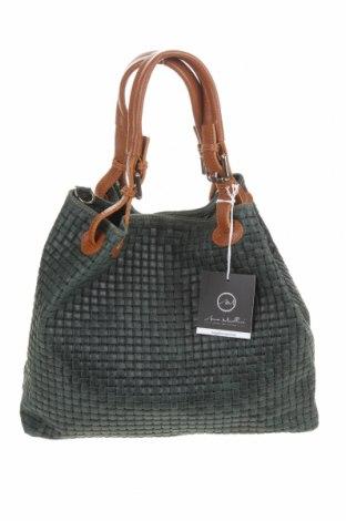 Дамска чанта Anna Morellini, Цвят Зелен, Естествена кожа, Цена 158,67лв.
