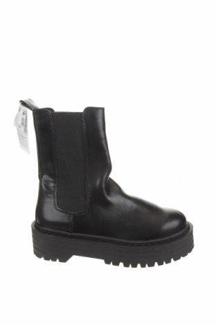 Дамски ботуши Pull&Bear, Размер 36, Цвят Черен, Текстил, еко кожа, Цена 37,62лв.