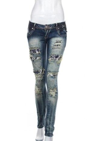 Дамски дънки, Размер L, Цвят Син, 98% памук, 2% еластан, Цена 21,26лв.