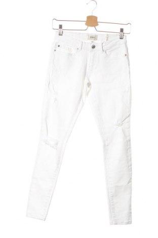 Дамски дънки ONLY, Размер XS, Цвят Бял, 98% памук, 2% еластан, Цена 15,06лв.
