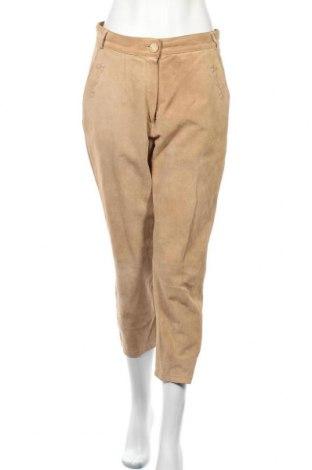 Дамски кожен панталон C&A, Размер M, Цвят Бежов, Естествен велур, Цена 7,26лв.
